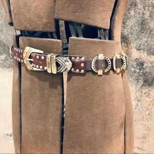 Vintage gold mesh metal and brown leather belt